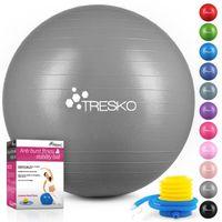 TRESKO Gymnastikball (Grau, 65cm) mit Pumpe Fitnessball Yogaball Sitzball Sportball Pilates Ball Sportball