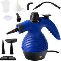 COSTWAY Dampfreiniger inkl. 9 Zubehörteil, Handdampfreiniger, Dampfreinigen Handgerät 3 bar / 350ml / 1050W / 3-5min Aufheizzeit Blau