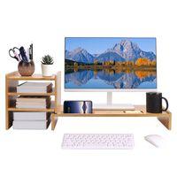WISFOR Monitorerhöhung Monitorständer Schreibtischaufsatz aus Bambus Bildschirmerhöhung mit 3 Fächer, 84x24.5x28cm