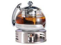 Teekanne Glas mit Edelstahl Stövchen Tee Set Teewärmer Teebereiter ca. 1,2 Liter
