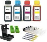 Druckerpatronen Nachfüllset  für HP 62 black  und HP 62 color Patronen  - 4 x 100 ml Nachfülltinte black, cyan, magenta, yellow mit Befüll-Zubehör und Befüllanleitung