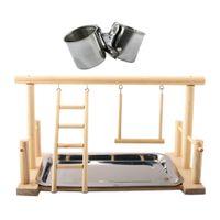 Parrot Bird Perch Tischplatte Stehen 2 Stahlbecher Spielen Sie Für Mittlere Und Große Rassen Farbe Natürlicher Ständer mit 5cm Bechern
