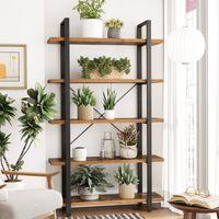 VASAGLE Bücherregal mit 5 Ablagen 177,5 x 105 x 33,5 cm einfacher Aufbau stabiles Standregal im Industrie-Design Wohnzimmerregal Vintage LLS55BX
