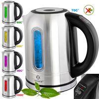 KESSER® 1,7 Liter Edelstahl Wasserkocher 2200W Temperaturwahl Warmhaltefunktion, Farbe:Silber