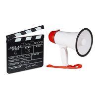 relaxdays 2 tlg. Film-Set Filmklappe Megafon Synchronklappe Bullhorn Szenenklappe Megaphon