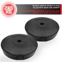 Physionics® Gewichtsscheiben - 2 x 5 kg,  Ø 27 mm, Kunststoff, Schwarz - Gewichte Hantelscheiben