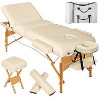 tectake 3 Zonen Massageliege mit 10cm Polsterung, Rollen und Holzgestell - beige