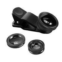 Leuchtbox 3 in 1 Clip-On Kamera-Adapter Objektiv Set für Smartphones Schwarz