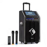 """auna DisGo Box 100 DVD - mobile PA-Anlage mit 2 x UHF-Funkmikrofon, Black Edition, 300 Watt max., 9"""" TFT-Display, integrierter DVD-Payer, Bluetooth, verlängerter Trolley-Griff, schwarz"""