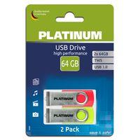 Platinum TWS 2x 64 GB USB-Stick USB 3.0 Laufwerk in Schlüsselanhänger-Format im praktischen 2er Pack mit 128 GB Gesamtspeicher