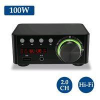 HIFI BT5.0 Digitalverstaerker Mini Stereo Audio Amp 100W Zweikanal Sound Power Audio Receiver Stereo AMP USB AUX fuer Heimkino USB TF Kartenspieler Schwarz