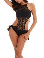 Sexydance Damen Gepolsterte Monokini Badeanzug Badebekleidung Spitze Beach Wear,Farbe:Schwarz,Größe:L