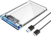 """2,5"""" Externes Festplattengehäuse, USB 3.0 auf SATA III 5 Gbit/s Gehäuse für 7mm 9,5 mm 2.5 Zoll SATA HDD und SSD"""