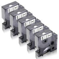 Xemax 5x kompatibel Schriftband Ersatz für Dymo D1 40913 S0720680 für Dymo LabelManager 160 210D 260P 280 360D 420P LabelPoint 200 250 LabelWriter 450 DUO, 9mm Schwarz auf weiß