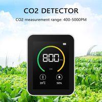 co2 kohlendioxid detektor, Luftqualität Messgerät, co2-kohlendioxid-detektor 400-5000PPM Messbereich Intelligenter Lufttester mit Temperatur-Feuchtigkeits-Anzeige Gaskonzentration Inhalt TFT Farbbildschirm