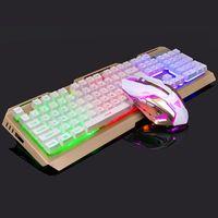 Bunt LED Gaming Tastatur und Maus Set Beleuchtete Mechanisch für PC Laptop MAC/WINDOWS Computer Gold