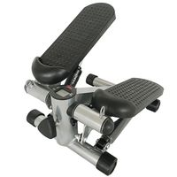 Stepper mit Display und 2 Power Ropes (verstellbaren Bewegungsumfang )  Mini Stepper Stepptrainer Hometrainer Grau