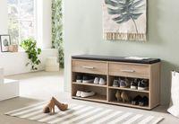 Wilmes Schuhregal mit 4 Fächern, 2 Schubladen und Sitzkissen, Melamin Sonoma Eiche Nachbildung