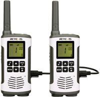 Retevis RT45 Walkie Talkie, PMR446 Lizenzfrei 16 Kanäle, VOX,10 Rufton, LED Taschenlampe, Funkgerät Set Wiederaufladbar USB Ladekabel (1 Paar, Silber)