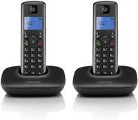 Motorola T402+ Schnurlostelefon (2 pcs) - Rufnummernanzeige, Freisprechfunktion, DECT Telefon mit Display - Schwarz