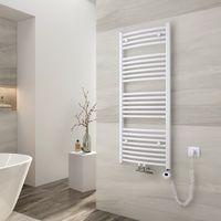 EMKE Elektrischer Badheizkörper mit Thermostat 120x50cm Gebogen Handtuchtrockner für Wasser oder Strom Handtuchwärmer, Mittelanschluss Vertikal Weiß