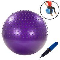 Gymnastikball mit Noppen 75cm inkl. Handpumpe Lila Fitnessball Yogaball Sitzball Sportball Aerobik Balance Pilates Ball