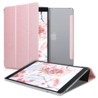 kwmobile Hülle kompatibel mit Apple iPad 10.2 (2019/2020 - 7./8. Gen) - Smart Cover Tablet Case Schutzhülle in Rosegold Transparent