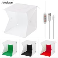 Andoer 22 * 23 * 24cm Faltbare Studio-Lichtbox LED-Fotofotografie-Aufnahmezelt Softbox 5500K Helligkeit des weißen Lichts Einstellbar mit weiß-schwarz-grün-roten Hintergründen