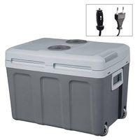WOLTU KUE003sz Kühlbox, Tragbarer Mini Kühlschrank, 50 Liter Isolierbox zum Warmhalten, Kühlen für Auto, mit Räder für Camping,, Angeln - DC 12V & AC 220V Schwarz  [EEK A++]
