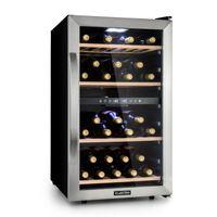 Klarstein Vinamour 45D Weinkühlschrank, Unterbau/Einbau, 83,5 cm, , 2 Kühlzonen, 118 Liter, 5-12 °C (obere Zone) / 12-18 °C (untere Zone), 45 Flaschen, Touch Control, freistehend, Edelstahl