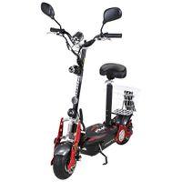 eFlux Street 40 E-Scooter mit Straßenzulassung, 35 km/h, 800 Watt, mit Sitz, Gepäck-Korb, klappbar (Schwarz)