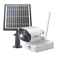 ZOSI C306 Drahtlos 7800mAh Wiederaufladbar Außen Akku Kamera Cloud Funkkamera mit Solarpanel, Farbnachtsicht, PIR Menschenerkennung, Licht&Ton Alarm