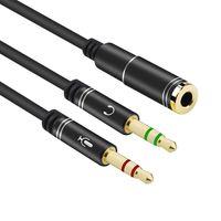 30cm  Flexible 3,5 mm Stereo-Audio-Leitung  1 weibliches mit 2 männliches Headset Mic Y Splitter-Kabel Kopfhörer zu PC-Adapter