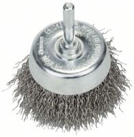"Bosch Topfbürste gewellter Draht 60 mm Schaft 6mm ""rostfrei"" 2608622118"