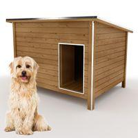 Hundehütte DK120-2 wetterfest, isoliert mit Windfang aus Massivholz 120 x 90 x 90 cm