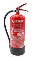 ANDRIS® Feuerlöscher 6L AB-Schaum 6 LE mit Manometer, EN 3 inkl. Wandhalterung, Standfuß & ANDRIS® Prüfnachweis mit Jahresmarke