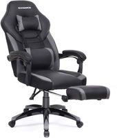 SONGMICS Bürostuhl   Schreibtischstuhl   Cheffsessel   Racing Stuhl   bis zu 150 kg belastbar   ergonomisches Design   schwarz-grau OBG77BG