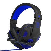 Gaming Headset mit Mikrofon, USB 3,5-mm-Schnittstelle, LED-Lautstärkeregler für PC/Laptop,  Blau