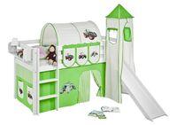 Lilokids Spielbett JELLE Trecker Grün Beige - Hochbett - weiß - mit Turm, Rutsche und Vorhang - Maße: 113 cm x 208 cm x 98 cm; JELLE3054KWTR-TRECKER-GRUEN