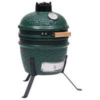 vidaXL 2-in-1 Kamado-Grill Smoker Keramik 56 cm Grün