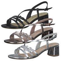 Tamaris Damen Sandaletten Riemchen Sandalen Blockabsatz 1-28212-26, Größe:38 EU, Farbe:Silber