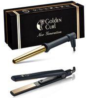 """Golden Curl """"The Double Gold"""" Mini-Salon Glätteisen & Lockenstab Kit"""