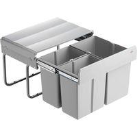 Wesco Einbau-Abfallsammler TRIO-SHORTY 50 DT 1x15 + 2x7,5 L, alugrau, Vollauszug