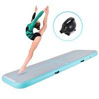 Crenex 400X100X20CM Aufblasbar Turnmatte Air Matte Track Gymnastikmatte Tumbling mit Elektropumpe grün
