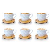 Espressotassen 12 Teilig mit untersetzer Bambus Porzellan 6 Tassen + 6 Untersetzer 100 ml Weisse Kaffeetassen Set bm731 Model 2