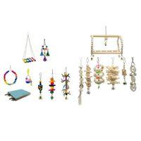 15 X Vogel Papagei Spielzeug Hängenden Käfig Schaukel Spielzeug Holz Barsch Spielzeug Mit Glocke Für Sittiche Nymphensittiche, Conures, Aras, Papageie