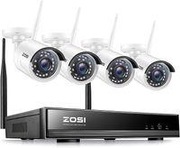 ZOSI 8CH H.265+ 1080P Wireless NVR Überwachungssystem mit 4 Außen 1080P WLAN Überwachungskamera Set ohne Festplatte