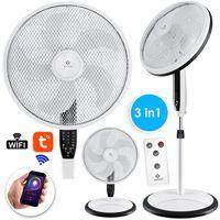KESSER® 3in1 Standventilator Tischventilator Wandventilator  mit App Wifi , Fernbedienung  | Timer | leise Oszillation 80 Grad | Ventilator | 4 Geschwindigkeiten inkl. Wandhalterung , Farbe:Weiß