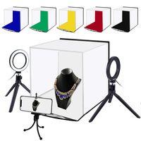 PULUZ Mini Fotostudio Lichtzelt Kit 30 * 30 cm mit 6 Farbhintergruenden, Handy Stativ, 2 Ringleuchte mit Stativ