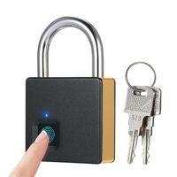 Smart Fingerprint Lock USB Wiederaufladbare 10 Sätze Fingerabdrücke IP65 Wasserdichte Diebstahlsicherung Vorhängeschloss Tür Gepäck Fall Schloss mit 2 Schlüsseln[Gold]